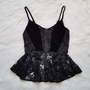 Black Velvet And Lace Corset Style Top